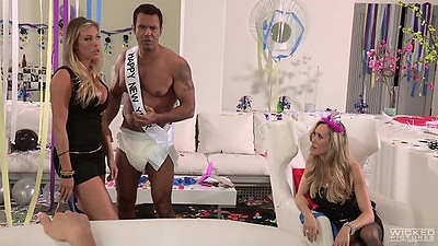 Lovely girls Samantha Saint and her friends in softcore scene