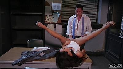 Asa Akira asian girl opens legs wide on office table