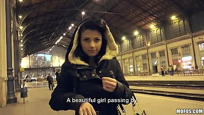 Caprice teen pick up at the public train station